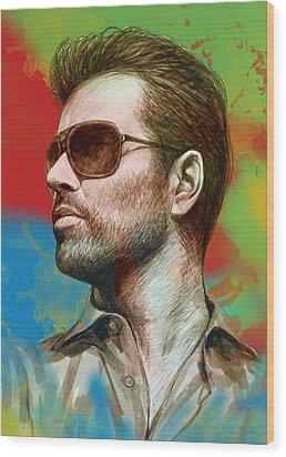 George Michael Stylised Pop Morden Art Drawing Sketch Portrait Wood Print by Kim Wang