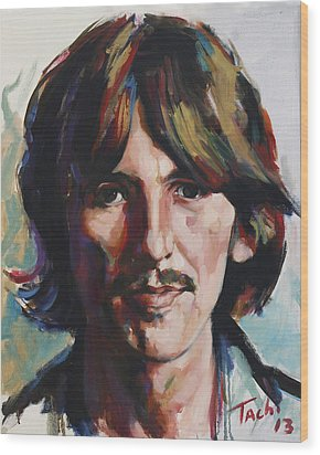 George  Wood Print by Tachi Pintor