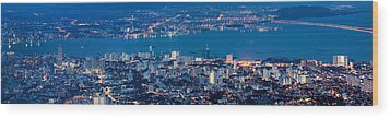 George Town Penang Malaysia Aerial View At Blue Hour Wood Print by Jpldesigns