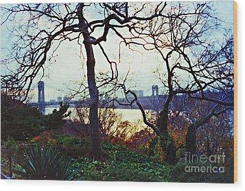 George Washington Bridge At Sunset Wood Print