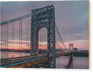 George Washington Bridge At Twilight Wood Print by Eduard Moldoveanu