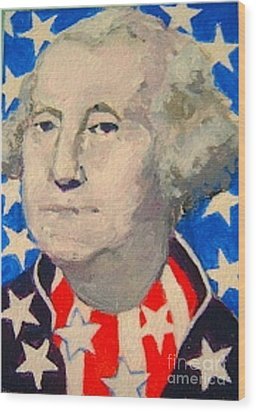 Wood Print featuring the painting George Washington In Stars And Stripes by Diane Ursin