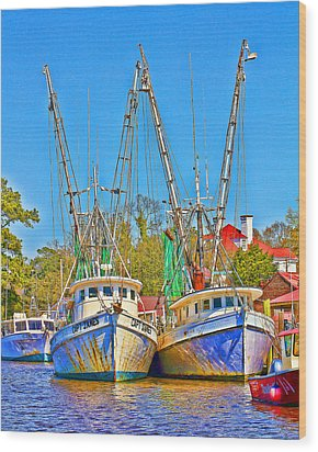 Georgetown Shrimpers Wood Print by Bill Barber