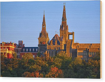 Georgetown University Wood Print by Mitch Cat