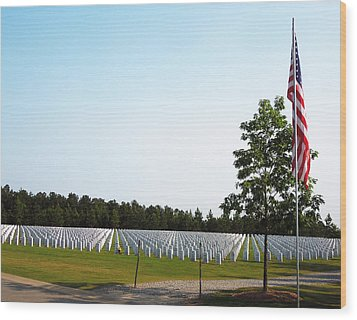 Wood Print featuring the photograph Georgia National Cemetery by Pete Trenholm