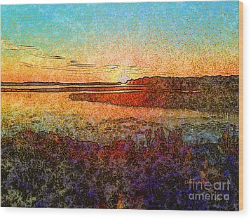 Georgian Bay Sunset Wood Print by Claire Bull