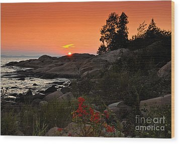 Georgian Bay Sunset Wood Print by Les Palenik