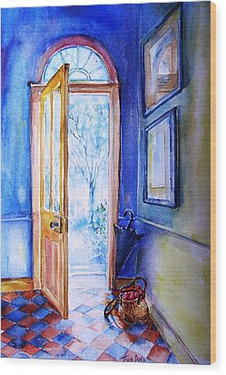 Wood Print featuring the painting Winter Doorway Ireland    by Trudi Doyle
