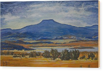 Wood Print featuring the painting Georgia's Mountain by Ron Richard Baviello