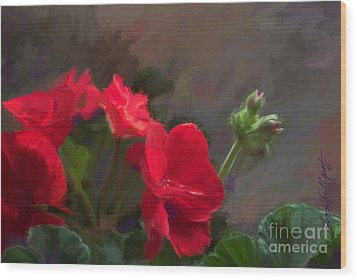 Geranium In Red Wood Print