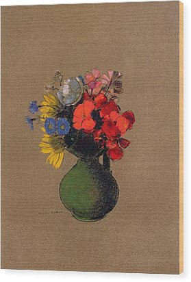 Geraniums And Flowers Of The Field Wood Print by Odilon Redon