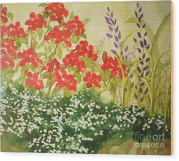 Wood Print featuring the painting Geraniums And Friends by Suzanne McKay