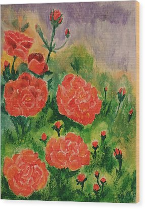 Wood Print featuring the painting Geraniums by Christy Saunders Church