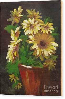 Wood Print featuring the painting Gerber Daisies 3 by Carol Hart