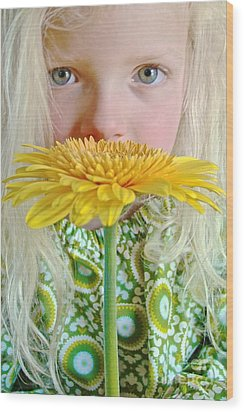 Gerbera Girl Wood Print by Suzanne Oesterling