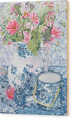 Gerberas In A Coalport Jug With Blue Pots Wood Print by Joan Thewsey