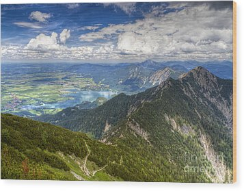Wood Print featuring the photograph German Alps View I by Juergen Klust