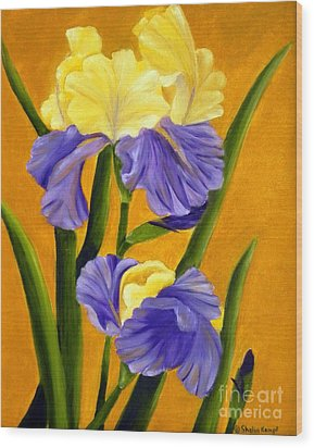 Wood Print featuring the painting German Bearded Iris  by Shelia Kempf