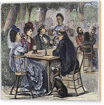 German Beer Garden, 1870 Wood Print by Granger