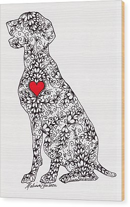 Wood Print featuring the drawing German Pointer by Melissa Sherbon
