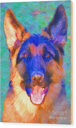 German Shepard - Painterly Wood Print by Wingsdomain Art and Photography
