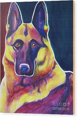 German Shepherd - Burner Wood Print by Alicia VanNoy Call
