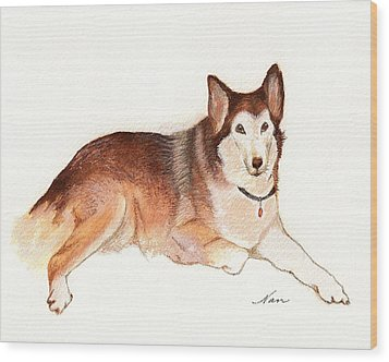 Wood Print featuring the painting German Shepherd Dog by Nan Wright