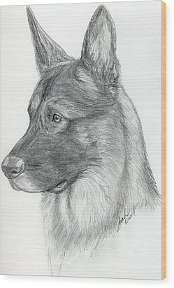 German Shepherd Wood Print by Lorah Buchanan