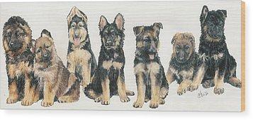 German Shepherd Puppies Wood Print by Barbara Keith