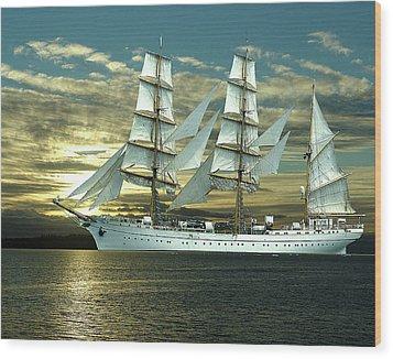 German Training Ship Gorch Foch Wood Print