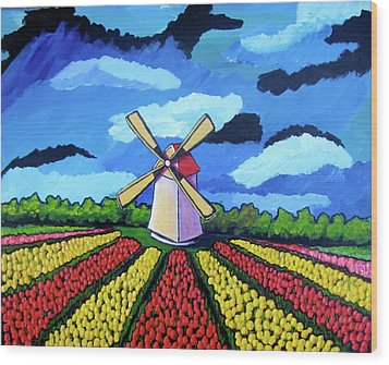 German Tulip Field Wood Print