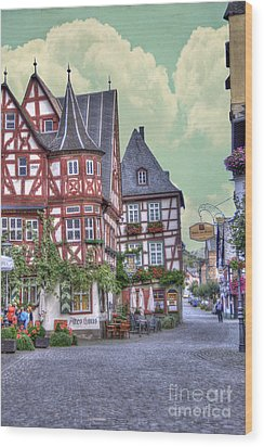 German Village Along Rhine River Wood Print