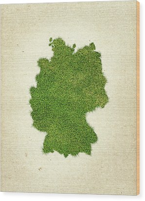 Germany Grass Map Wood Print by Aged Pixel