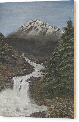 Wood Print featuring the painting Gerri's Mountain by J L Zarek
