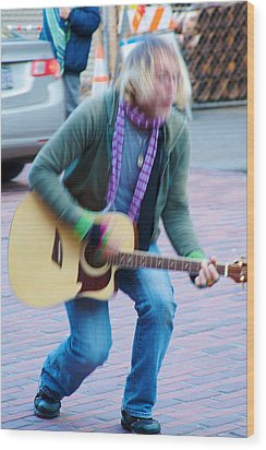 Wood Print featuring the photograph Gettin Down - Street Musician In Seattle by Jane Eleanor Nicholas