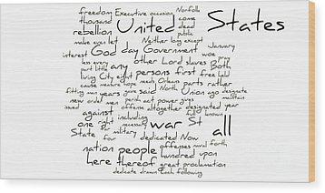 Gettysburg Address-emancipation Proclamation-second Inaugural Address-word Cloud Wood Print by David Bearden