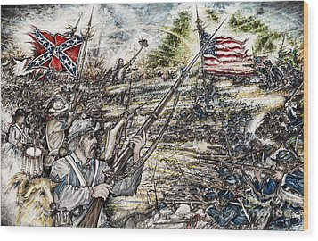 Gettysburg Ash's At The Angle Wood Print by Scott and Dixie Wiley