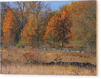 Gettysburg At Rest - Autumn Looking Towards The J. Weikert Farm Wood Print by Michael Mazaika