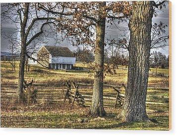 Wood Print featuring the photograph Gettysburg At Rest - Winter Edward Mc Pherson Farm by Michael Mazaika