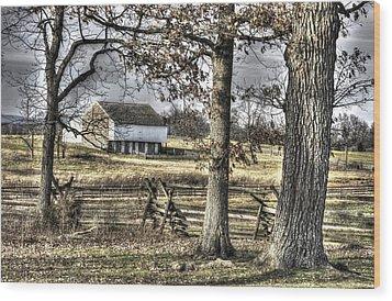 Wood Print featuring the photograph Gettysburg At Rest - Winter Muted Edward Mc Pherson Farm by Michael Mazaika