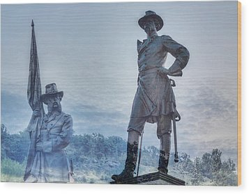 Gettysburg Battlefield Statues Wood Print by Randy Steele