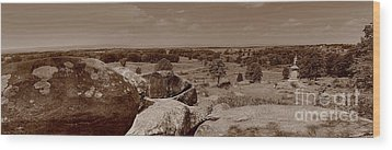 Wood Print featuring the photograph Gettysburg From Little Round Top by Nigel Fletcher-Jones