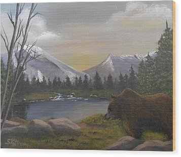 Wood Print featuring the painting Ghost Bear-the Cascade Grizzly by Sheri Keith