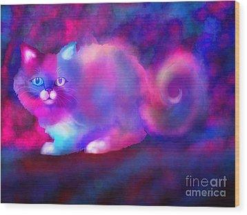 Ghost Cat 2 Wood Print by Nick Gustafson