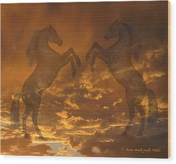 Ghost Horses At Sunset Wood Print by Donald and Judi Hall