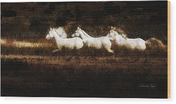 Ghost Horses Wood Print by Karen Slagle