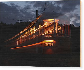Wood Print featuring the photograph Ghost Of Trolleys Past I by Jim Poulos