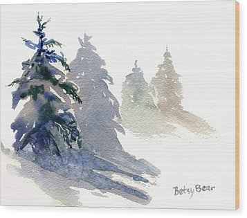 Ghost Spruce Wood Print by Betsy Bear