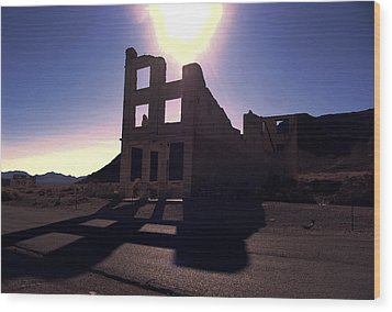 Ghost Town - Bank Closed Wood Print by Maria Arango Diener
