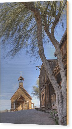 Ghost Town Chapel Wood Print by Wendell Thompson